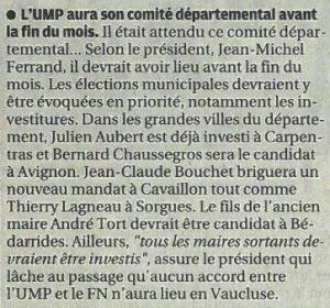 130913 Prov Municipales UMP Bedarrides