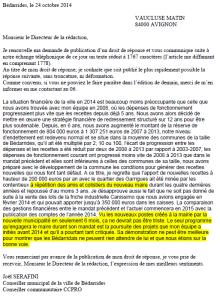 droit de réponse envoyé à Vaucluse matin et publié tronqué le 25 octobre 2014